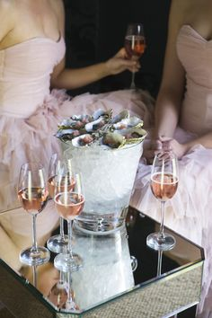 Wedding Style Guide Image Inspiration: Pink champagne and oysters on ice...!!!!