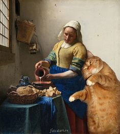 Fat Cat Art: Famous Masterpieces Improved by a Ginger Cat with Attitude Paperback September 15 2015 I Love Cats, Crazy Cats, Cute Cats, Funny Cats, Johannes Vermeer, Gatos Cats, Classic Paintings, Ginger Cats, Cat Supplies