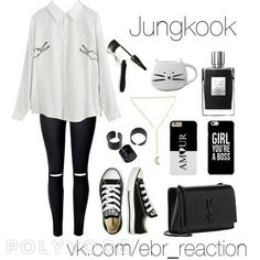 Outfit inspired by BTS Jungkook Teenager Outfits, Outfits For Teens, Trendy Outfits, Girl Outfits, Bts Mode, Kpop Mode, Kpop Fashion Outfits, Tween Fashion, Korean Outfits Kpop
