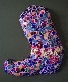 """La Tejana"" The Female Texan Mexican Hipster Style Mosaic Wall Art Cowboy Boot"