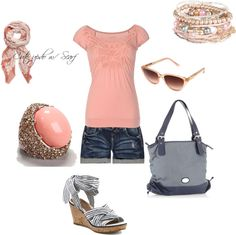 """Peach & Gray"" by amyjoyful1 on Polyvore"