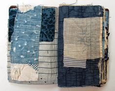 mandy pattullo Thread and Thrift: Blue Book Boro, Fabric Art, Fabric Books, Fabric Crafts, Textiles Sketchbook, Fibre And Fabric, Stitch Book, Fabric Journals, Handmade Books