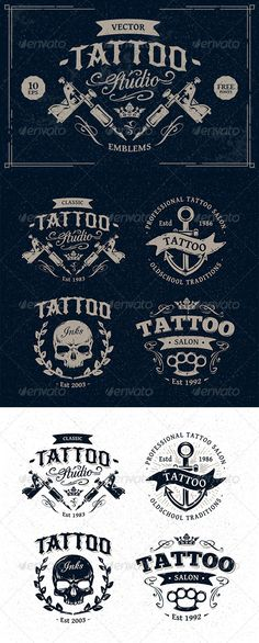 Tattoo Studio Emblems - Vectors