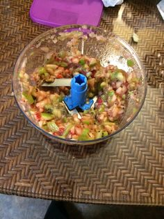 Fruit salsa- made in Tupperwares -quick chef pro. So easy, 1- Granny Smith apple quartered, 2-kiwis Quartered,  6-8 strawberries.  First chop the apple, then add kiwi and strawberry, Bam!