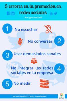 5 errores comunes que dificultan tu promoción a través de las Redes Sociales #infografia #socialmedia