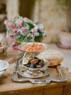 Food | Flowers | silver tray
