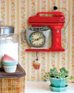 Vintage Mixer RED Pendulum Clock