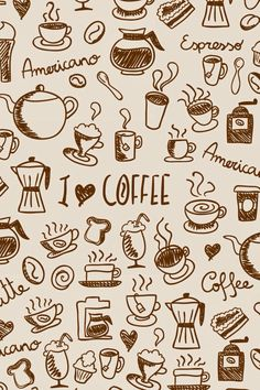 Coffee Doodles off iPhone Cases, Samsung Cases & iPhone Wallets. Use at checkout. Coffee Wallpaper Iphone, Aesthetic Iphone Wallpaper, Coffee Wallpapers, Coffee Icon, Coffee Love, Cafe Geek, Cafeteria Menu, Cute Food Wallpaper, Fond Design