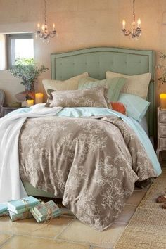 bedroom colors: gray, turquoise and coral by Oma Mari