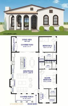 This small Spanish Contemporary house plan is a 1301 sqft single level home with 2 bedrooms, a large, open concept greatroom, and a charming front porch. Contemporary House Plans, Modern House Plans, Modern House Design, Contemporary Architecture, Simple Home Plans, Guest House Plans, Contemporary Office, Br House, House Front