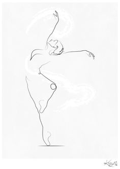 'Unfurl', Dancer Line Drawing Art Print by Kerry Kisbey | Society6