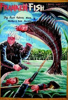 Vintage Ghana movie poster art - Frankenfish horror (Frankenstein fish).
