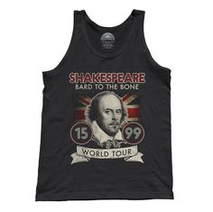 Unisex William Shakespeare Bard to the Bone Tour Tank Top - Funny Retro Style Vintage Concert Poster Inspired English Literature Pun Shirt. Printed on soft 100% combed, ringspun cotton with eco-friendly water-based inks. $25.00 from #Boredwalk, plus free U.S. shipping. Click to purchase!