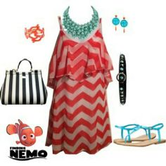 Nemo Orange Chevron Lines Sundress Just keep swimming! So easy and fun, just add a black belt and some accessories for a Disneybound Nemo. Lightweight and sheer, fully lined. Worn once, looks new. Charlotte Russe Dresses