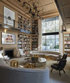 Luis Bustamante is among my favorite European interior designers. His first book, Luis Bustamante: Interiors is among my favorites as it showcases his. Home Library Design, Dream Home Design, My Dream Home, Home Interior Design, Interior Decorating, Dream Library, Modern Mansion Interior, Home Library Decor, Luxury Kitchen Design