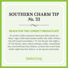(Great) Tip #33: Reach for the correct bread plate §