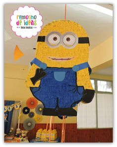 Minion pinata at a Despicable Me  birthday party! See more party ideas at CatchMyParty.com!