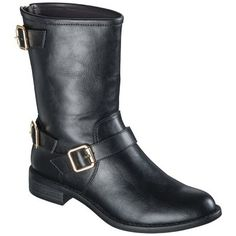 These boots would look fantastic with jeans, leggings, tights, or even just paired with a dress or jean cutoffs. Plus they look waaaaay more expensive than they are!  Women Mossimo Kyla Buckle Boot On Sale for $24.99 at Target.com