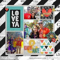Love Ya Digital Pocket Scrapbook Layout by Juli Fish. Credits - Love Ya by Shawna Clingerman and Studio Basic Designs   EZ Albums v.10 by Erica Zane both at Sweet Shoppe Designs  project life, pocket scrapbook, teens, love, flowers, alpha, hearts, block, Mardi Gras, striped background paper.