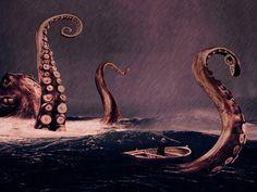 z- F- HP Lovecraft - Squid- 'Kraken- Tentacles of Deep', 2006 {Duplicate Variation Below- this is brown} Kraken, Cthulhu, Monuments, Octopus Art, Sea Monsters, Fantasy, Under The Sea, Dark Art, Illustration Art