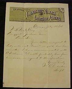 William Pinkerton Letter, 1881