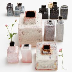 Ash Cloud vases collection, hand-formed ceramics by Icelandic artist Bjarni Sigurdsson are finished in a natural glaze made from the volcanic ashes of the Eyjafjallajökull eruption in 2010.