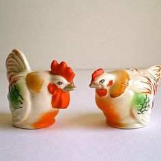 Chickens Roosters Salt and Pepper Vintage Home by dottirosestudio