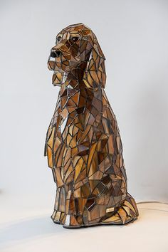 Irish Setter Stained Glass Lamp 3D Sculpture Dog by StainedGlassPL