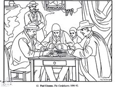 Free coloring page coloring-adult-paul-cezanne-card-players.