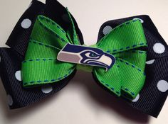"""Seattle Seahawks Football Hair Bow 5"""" -  Navy & Green Boutique - Girls Clip  - French Barrette Super Bowl on Etsy, $5.50"""