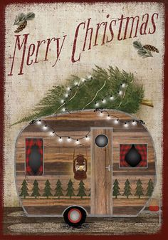 Merry Christmas Camper Decorative House Flag by Briarwood Lane. (Words read correctly from one side) Size: 28 by 40 inches. Artist: Beth Albert The flag is printed on durable polyester for outdoor dis