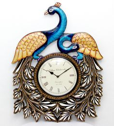 Aakashi Carved Peacock Wall Clock