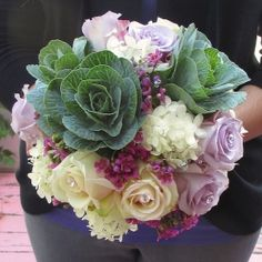 Bouquet with Ornamental Kale, Roses, Hydrangea, and Wax Flower