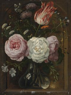 CIRCLE OF JAN DAVIDSZ. DE HEEM FLOWER STILL LIFE WITH A TULIP AND ROSES IN A GLASS VASE