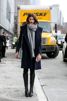 Fall Fashion Week New York - loving the coat and knee high boots