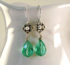Green Teardrop Earrings Faceted  Antique Silver by CinLynnBoutique, $17.00