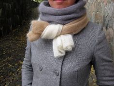 Striped mohair scarf grey white peach minimalistic by Renavere, $85.00