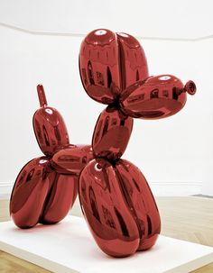 Jeff Koons, Balloon Dog (Red), 1994–2000. High chromium stainless steel with transparent color coating, 307.3 x 363.2 x 114.3 cm, European private collection © Jeff Koons. Photo: Jeff Koons Studio, New York (On view at the Beyeler Foundation)