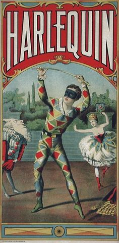 """""""Harlequin"""" Advertising Poster - Lithograph Printed in Color by A. Hoen  Company, Richmond, Virginia (c. 1870)"""