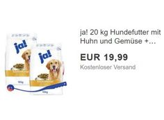 """Ebay: 20 Kilo gut bewertetes Hundefutter mit Spielzeug für 19,90 Euro https://www.discountfan.de/artikel/technik_und_haushalt/ebay-20-kilo-gut-bewertetes-hundefutter-mit-spielzeug-fuer-19-90-euro.php 20 Kilo Hundefutter für unter 20 Euro frei Haus: Bei Ebay gibt es jetzt als """"Wow! des Tages"""" das """"ja! Hundefutter mit Huhn und Gemüse"""" inklusive Shooter mit Ball zum Schnäppchenpreis. Im Test konnte das Trockenfutter überzeugen. Ebay: 20 Kilo gut be"""