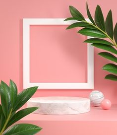 Podium With Frame And Tropic Plant Pastel Pink. 3d Render