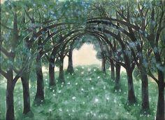 Un camino entre los árboles, obra hecha con pinturas acrílicas.
