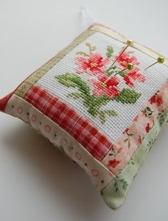 how to: making a mini pillow with a needlework center (the tutorial is for making a pin cushion, but it could be scaled down)