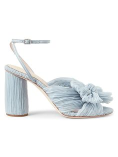 blue wedding shoe high-heel sandal with ruffle bow and ankle wrap strap