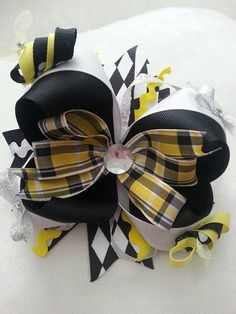 Busy Bee Stacked OTT Hair Bow by Knotjuststring on Etsy, $16.00