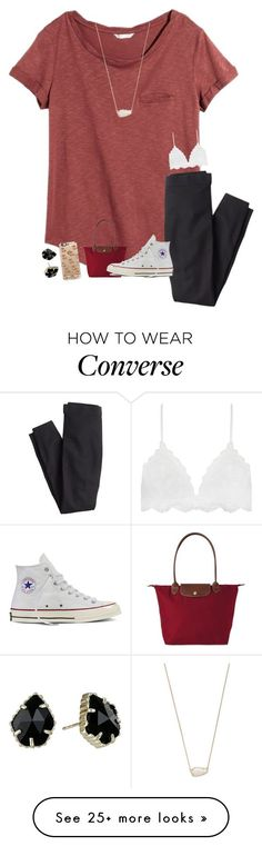 """Tuesday // Pep Rally"" by sanddollars on Polyvore featuring H&M, J.Crew, Longchamp, Converse, Casetify, Kendra Scott and evelynsfirstdayofschool"