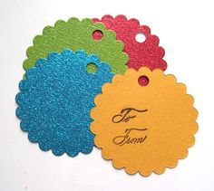 Glitter Globes Scalloped Christmas Gift Tags Set by wildabouttags, $3.80