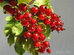 Купить Броши с красной смородиной - брошь с ягодами, ягоды, красный, красные ягоды, красная смородина