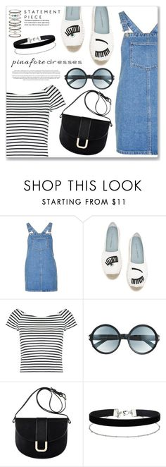 """""""60-Second Style: Pinafores"""" by dressedbyrose ❤ liked on Polyvore featuring Topshop, Chiara Ferragni, Lipsy, Tom Ford, A.P.C., Miss Selfridge, Accessorize, pinafores and 60secondstyle"""