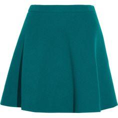 Miu Miu Wool mini skirt ($555) ❤ liked on Polyvore featuring skirts, mini skirts, bottoms, faldas, miu miu, saias, wool skirt, a-line skirt, short skirts and blue skirt